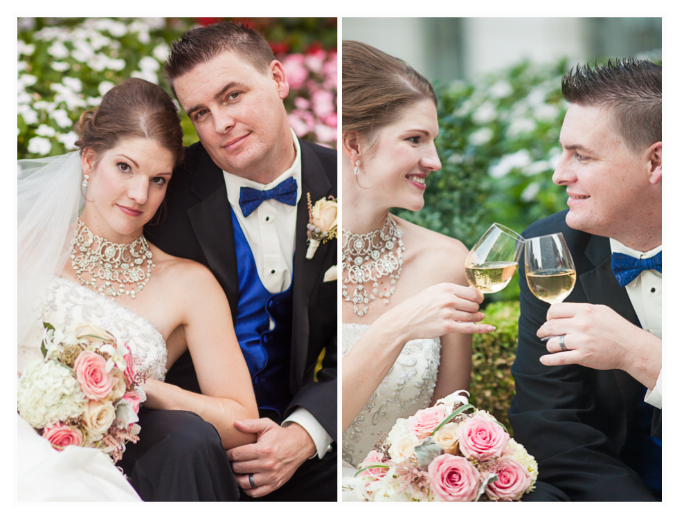 bride and groom do toasts at grand America wedding in Utah, Salt Lake City