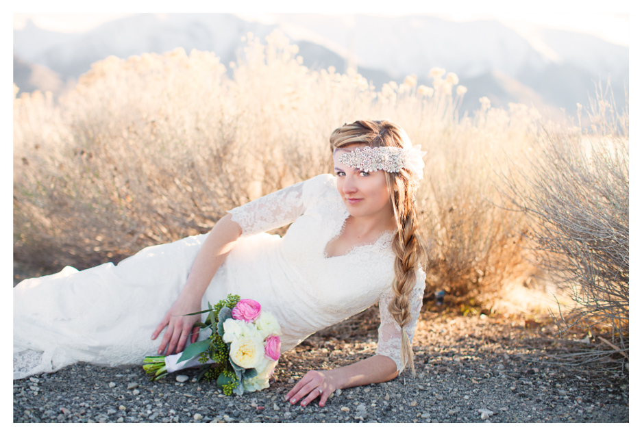 Utah bride taking bridals at Saltair in the reeds
