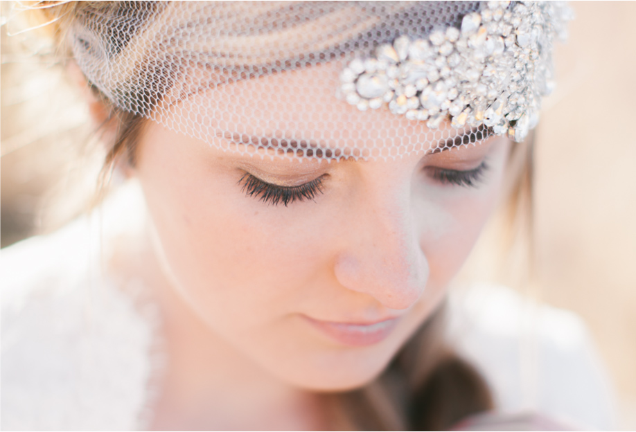 close up of utah bride with a stunning headpiece