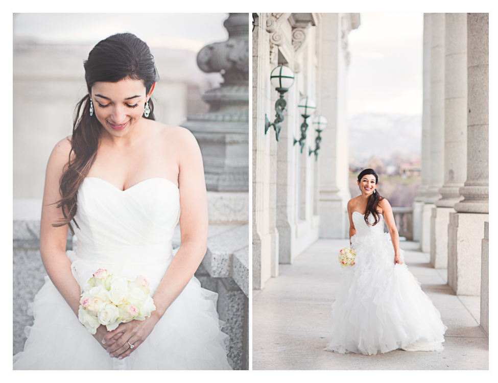 stunning bridals taken by utah wedding photographer at utah state capitol