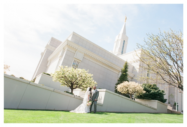 Bountiful Temple Utah wedding in the spring with the flowers and blossoms out at the temple LDS wedding
