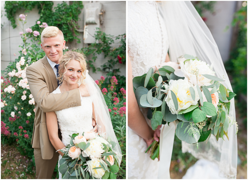 utah wedding photographer photographs bride and goom in rose garden