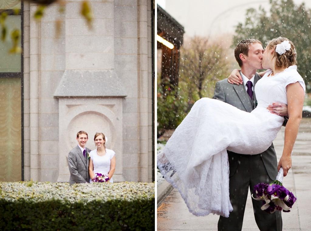 utah wedding on a snowy day at the salt lake temple in utah