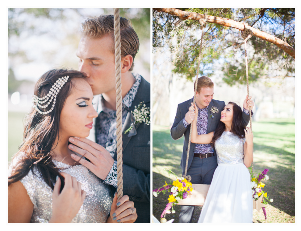 Utah wedding inspiration with fun couple and tree swing, love this idea for a wedding