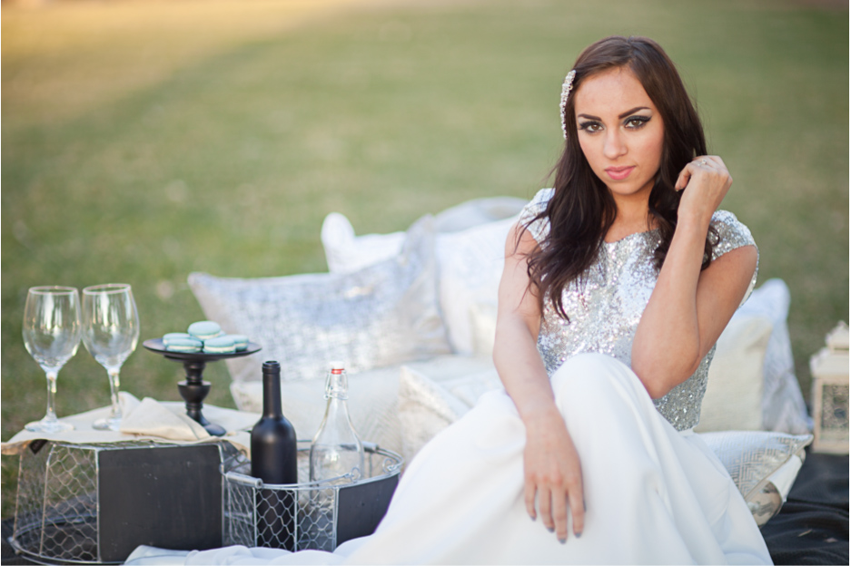 romantic picnic for a bride and groom, in utah wedding