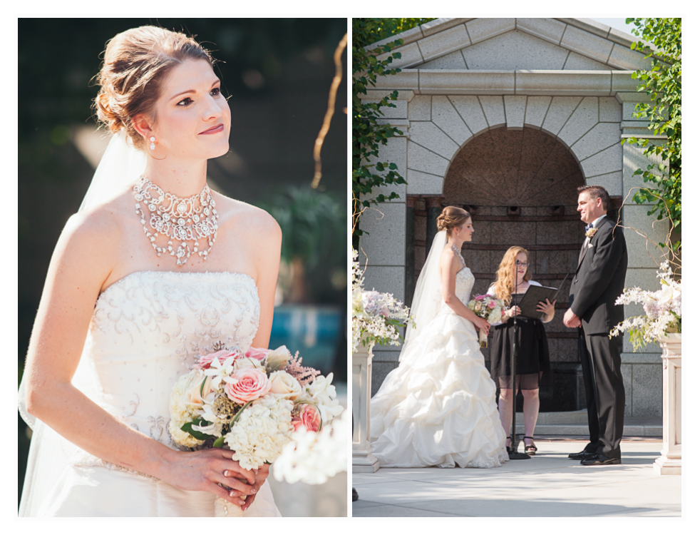bride and groom married in the courtyard at grand America hotel