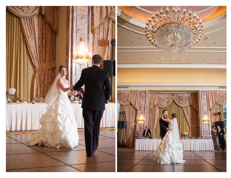 grand ballroom at utah's grand America hotel, couples first dance, utah wedding photographer