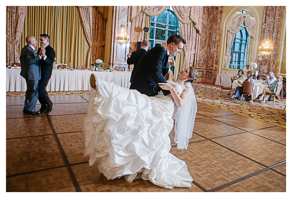 couples first dance at Utah's Grand America Hotel lavish wedding