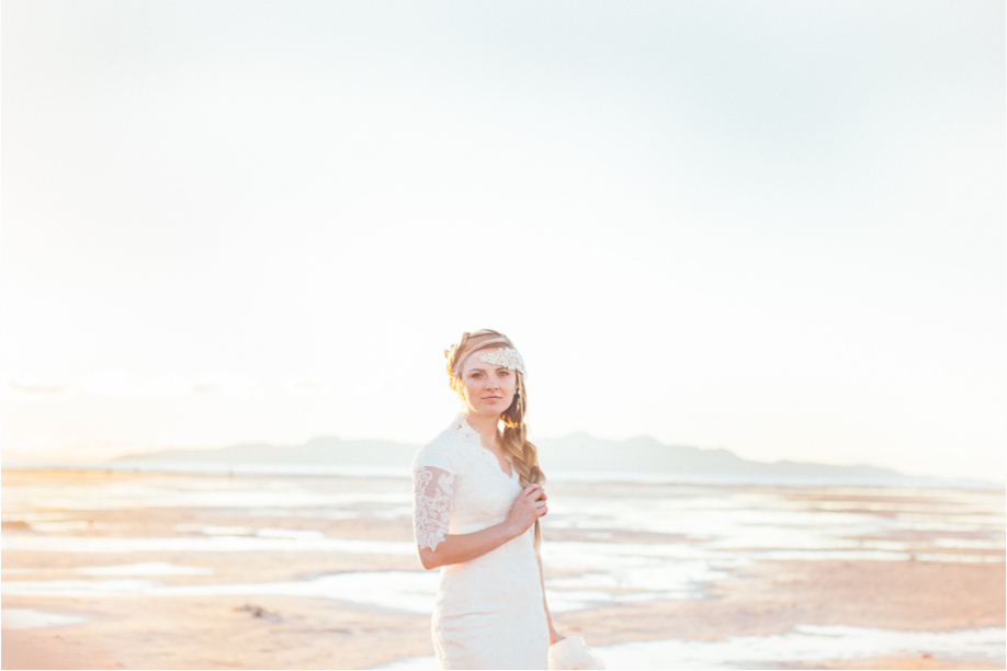 Utah bridal photos on the beach of saltair