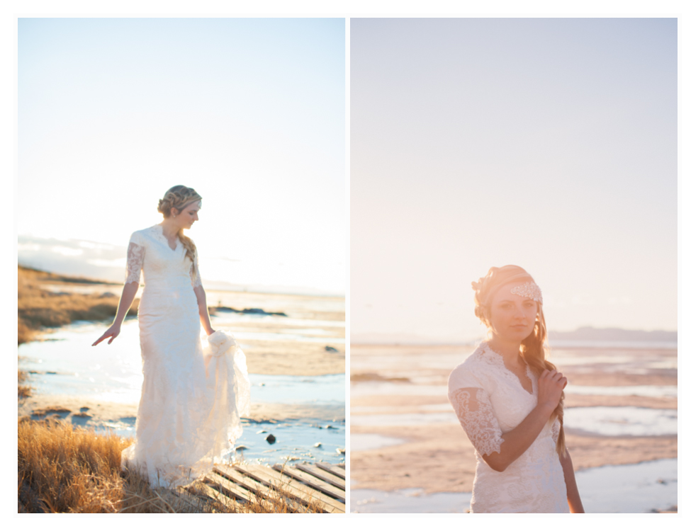 utah bridal photos that are whimsical taken by the great salt lake