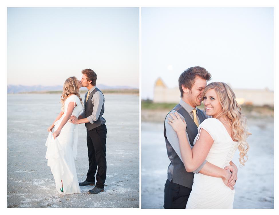 bride and groom take wedding photos in Salt Lake City Utah