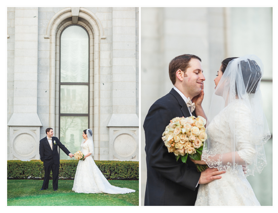 beautiful bride and groom at the salt lake city wedding