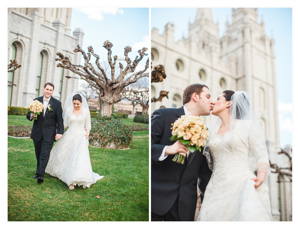 salt lake city temple wedding, young couple in love on wedding day