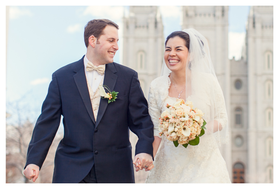 happy couple just married at the salt lake city temple wedding