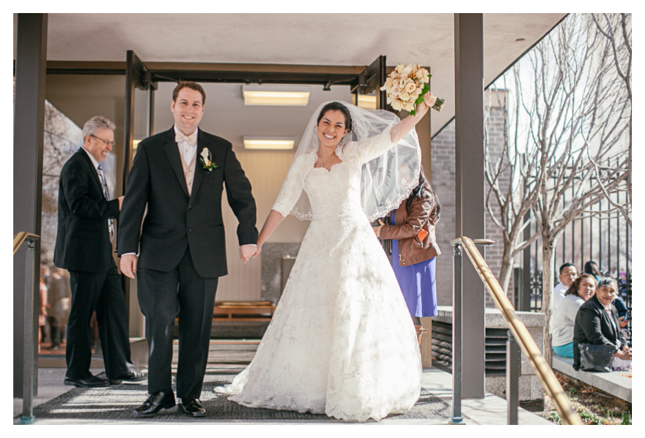 wedding couple exiting the salt lake city temple wedding