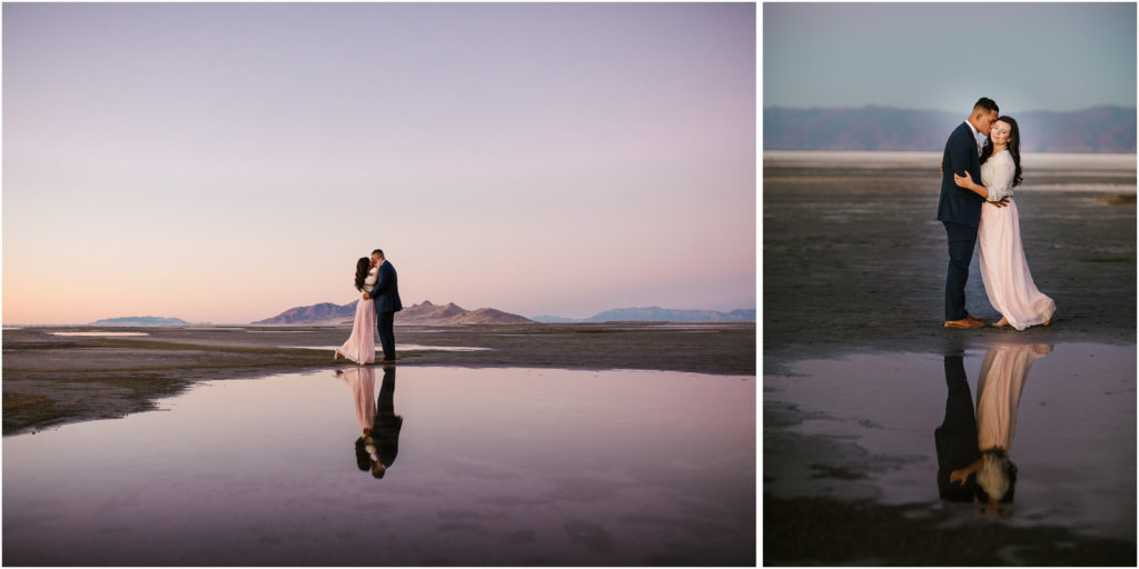 engagement photos taken at Saltair outside of Salt Lake City